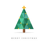 Christmas card with a geometric Christmas tree made of triangles