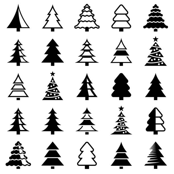Christmas tree Christmas tree icon collection - vector illustration christmas tree stock illustrations