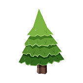 Vector illustration of a cartoony Christmas tree. Design element for Christmas ideas and concepts, greeting cards, holidays and celebrations.