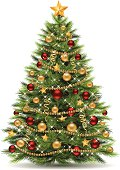 Vector illustration of a christmas tree. EPS-8. No transparencies, gradient mesh. Hi-Res jpg included (3815 x 5400 px).