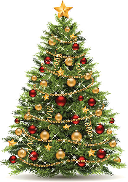 Christmas Tree Vector illustration of a christmas tree. EPS-8. No transparencies, gradient mesh. Hi-Res jpg included (3815 x 5400 px). christmas tree stock illustrations