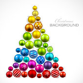 Christmas tree of colored balls. Vector illustration EPS10