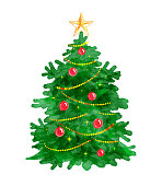 Christmas tree. Watercolor art. Vector illustration. Isolated.