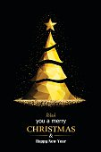 Golden Christmas Tree. EPS 10.