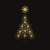 Abstract glittering Christmas tree on black background.