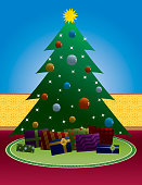 Illustration of Christmas Tree with gifts. Easily change colors and move objects.