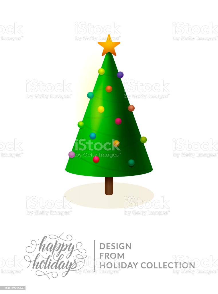 Christmas Tree Vector Isolated On White Cartoon Traditional Fir Tree Decorated With Christmas Ornaments And Star Happy Holidays Text And Lettering For