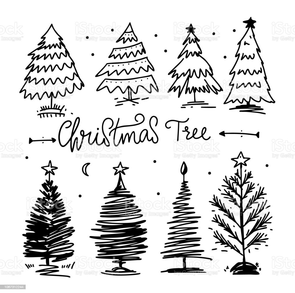 Christmas Tree Vector.Christmas Tree Vector Set Hand Drawn Vector Illustration Stock Illustration Download Image Now