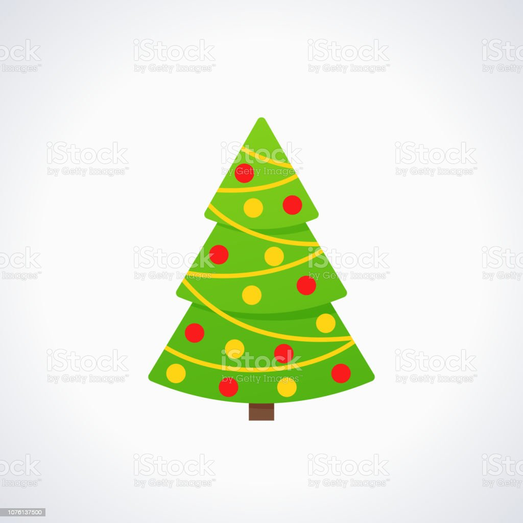 Christmas Tree Facebook Icon: Christmas Tree Vector Tree Icon In Flat Design Stock