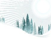 drawing and computer design of vector christmas tree view illustrations.