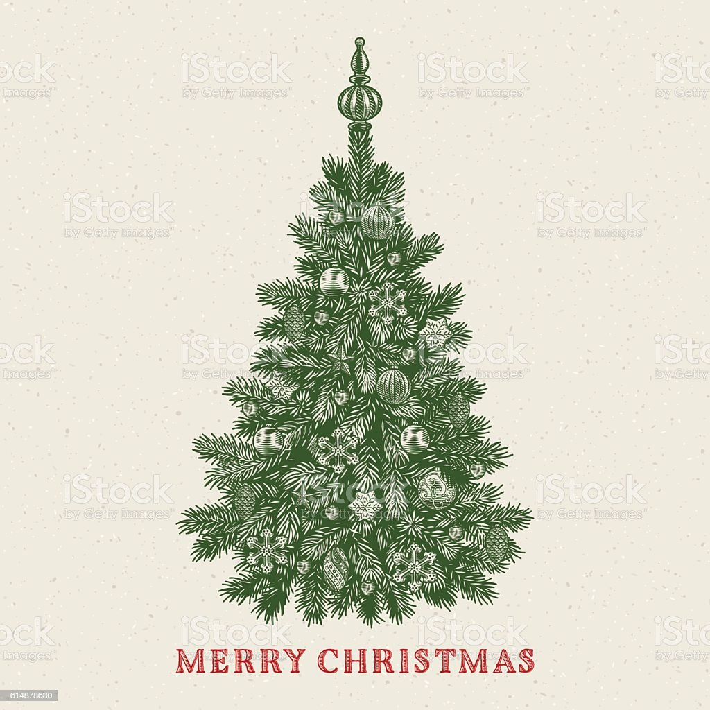Christmas tree vintage greeting card with merry christmas christmas tree vintage greeting card with merry christmas inscription royalty free christmas tree vintage altavistaventures Image collections