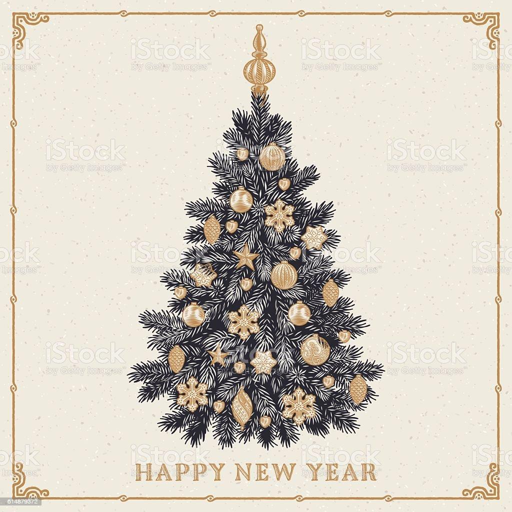 Christmas tree. Vintage greeting card with New Year inscription – Vektorgrafik
