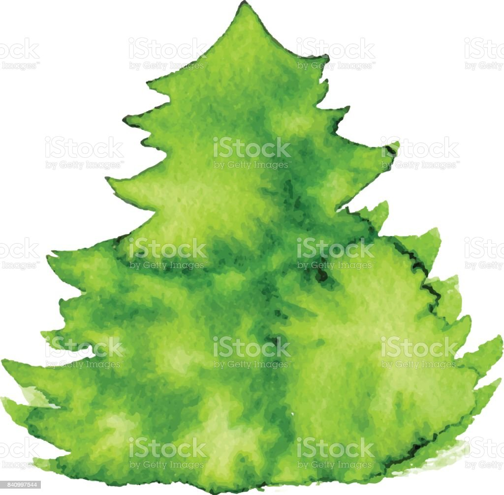 Christmas Tree Watercolor Shape For Greeting Card Vector 2017 Winter