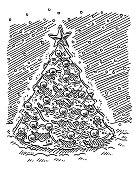 Christmas Tree Winter Scene Drawing
