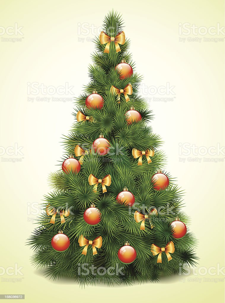 Christmas tree with balls and bows royalty-free stock vector art