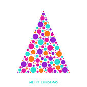 Stylized Christmas tree with bright holiday pattern made of colorful circles. Vector illustration for greeting card, poster or invitation.