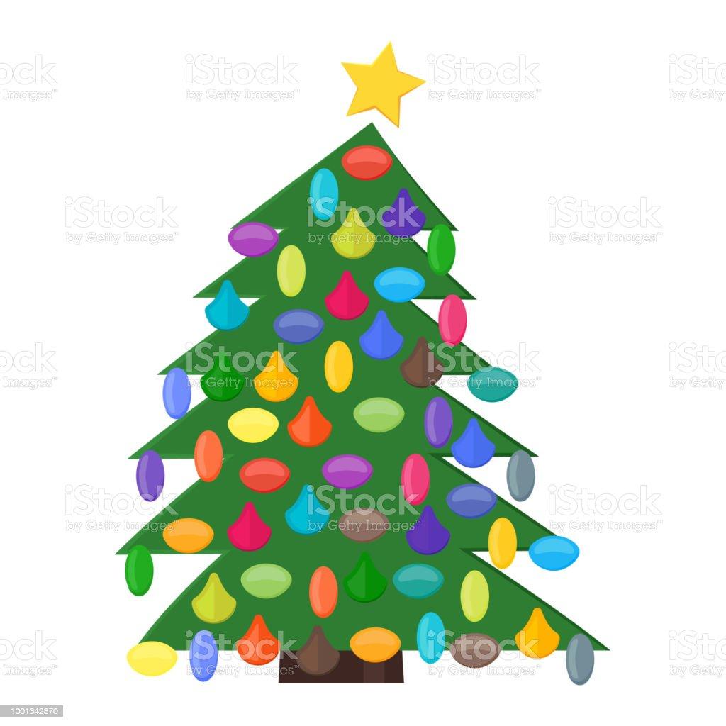 Stern Auf Weihnachtsbaum.Weihnachtsbaum Mit Weihnachtskugeln Und Einen Stern Auf Der Spitze
