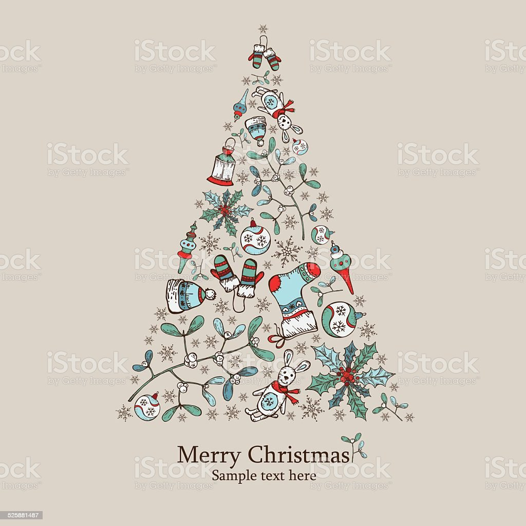 Christmas Tree With Christmas Decorations Drawing Stock Vector Art