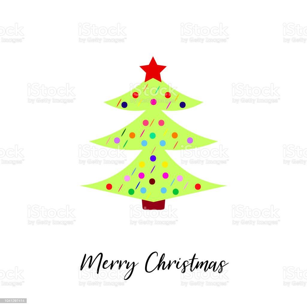 Stern Frohe Weihnachten.Weihnachtsbaum Mit Dekoration Und Stern Isoliert Auf Weiss