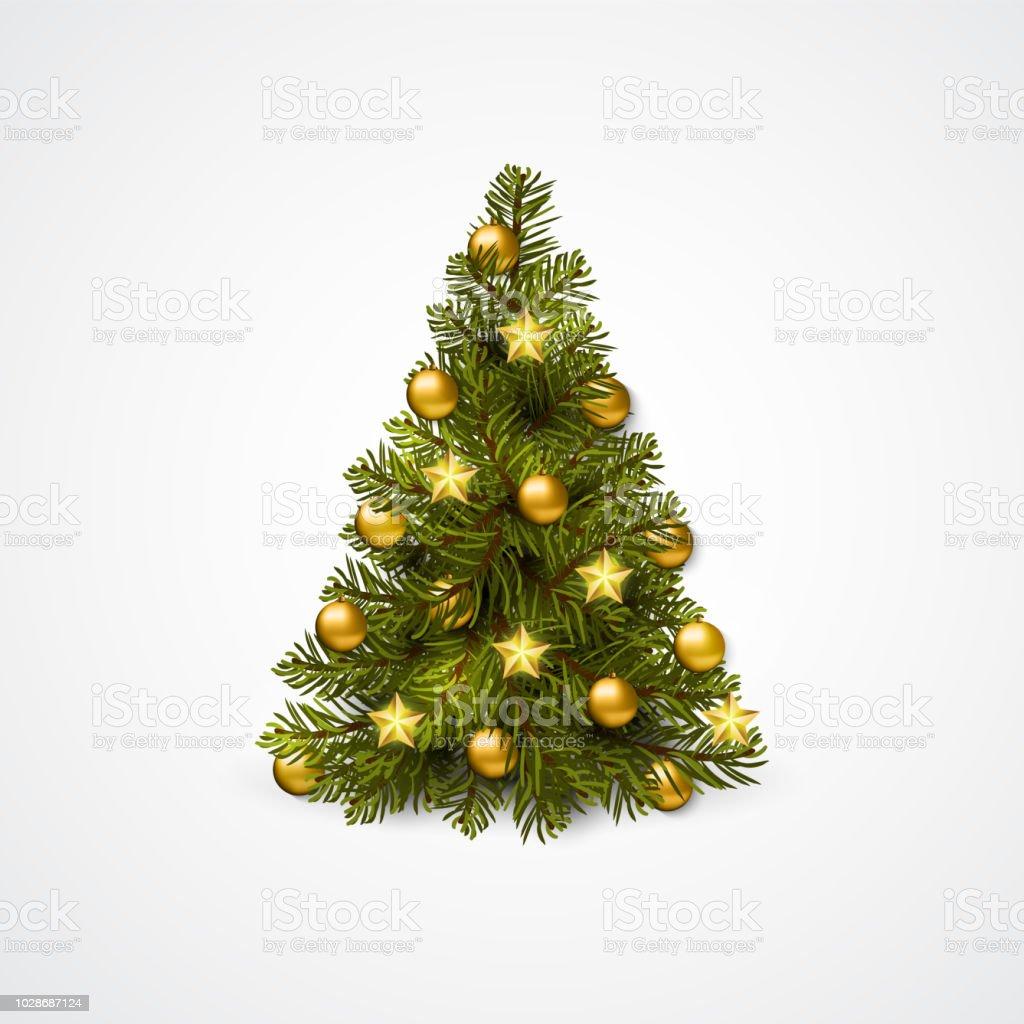 Christmas tree with decoration - balls, garlands. Vector vector art illustration