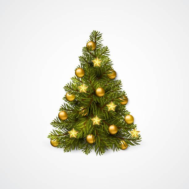 stockillustraties, clipart, cartoons en iconen met kerstboom met decoratie - ballen, slingers. vector - kerstboom