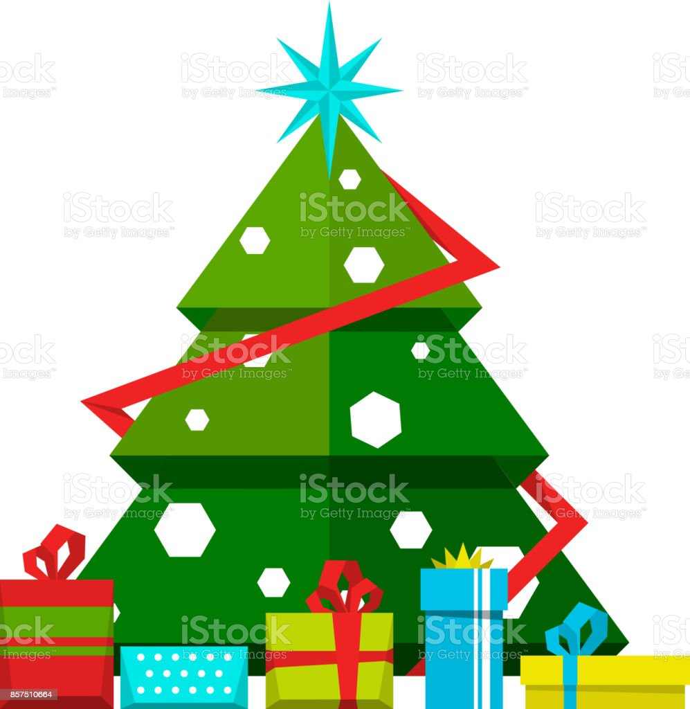 christmas tree with decorations and different gifts vector stylized illustrations royalty free christmas tree - Different Christmas Decorations