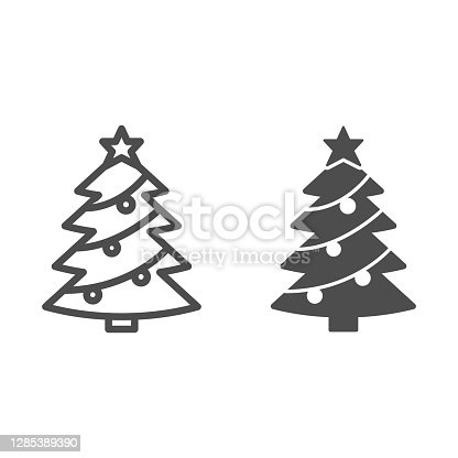 istock Christmas tree with decorations line and solid icon, Christmas and New Year concept, spruce with star and garland sign on white background, holiday attribute icon in outline style. Vector graphics. 1285389390