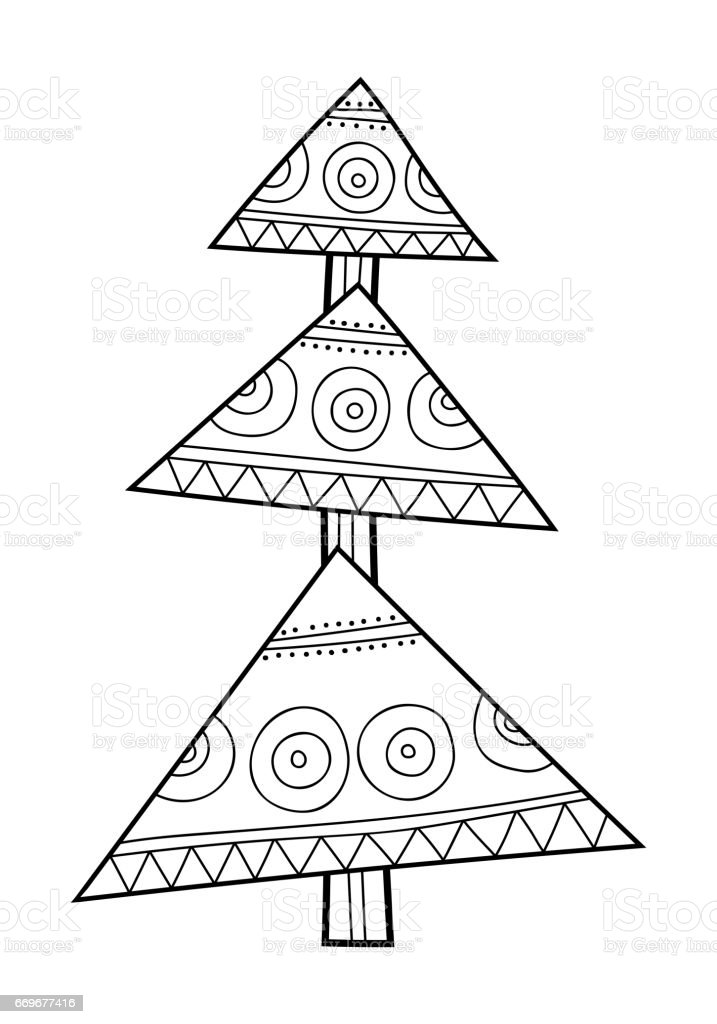 Christmas Tree With Decorative Patterns Black And White Illustration