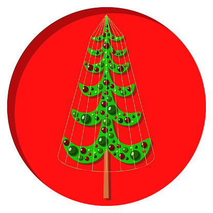 Christmas tree with dots and stars on white background. Vector illustration EPS 10