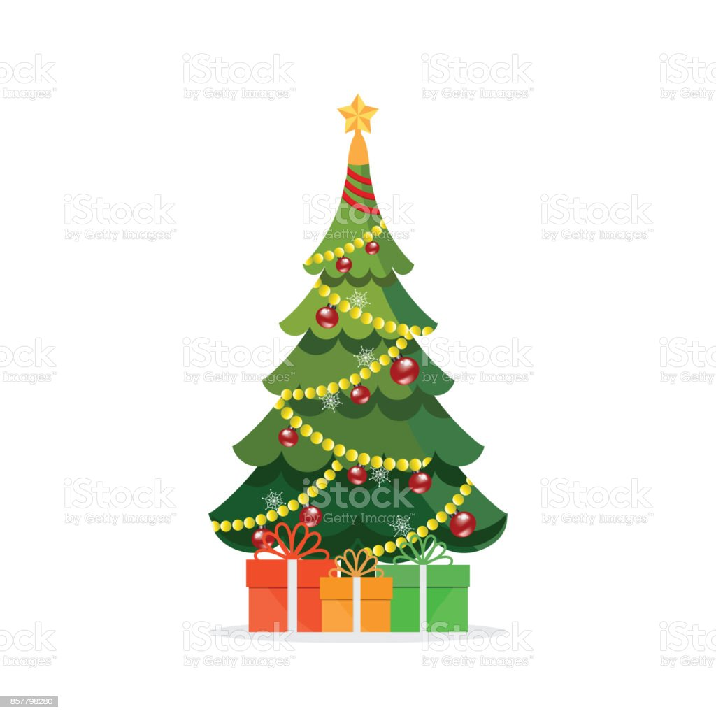 Christmas tree with gifts. vector art illustration