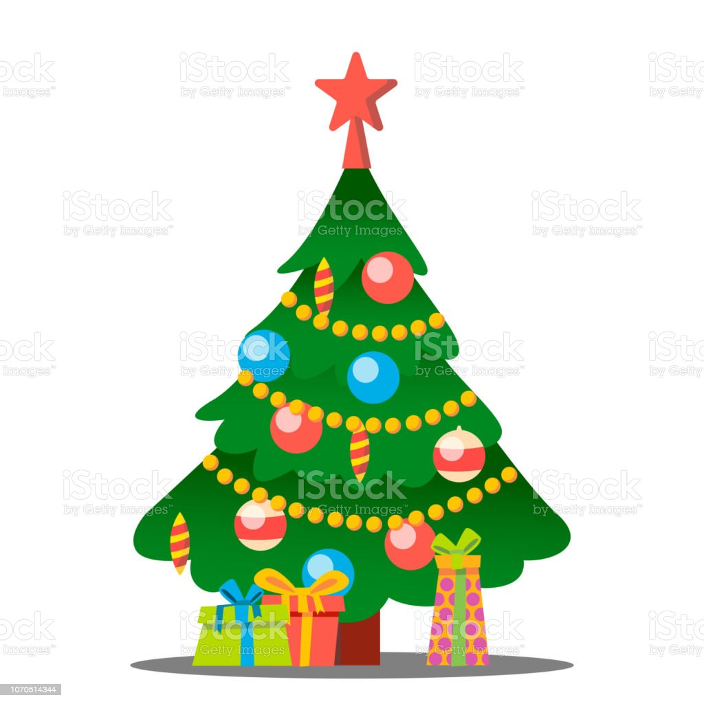 Christmas Tree With Gifts Vector Merry Christmas And Happy New Year