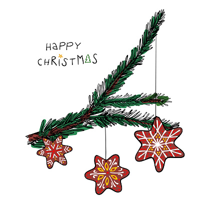 """Christmas tree with gingerbread cookies hanging and type """"Happy Christmas"""" - hand drawn vector illustration for Christmas cards and banners"""