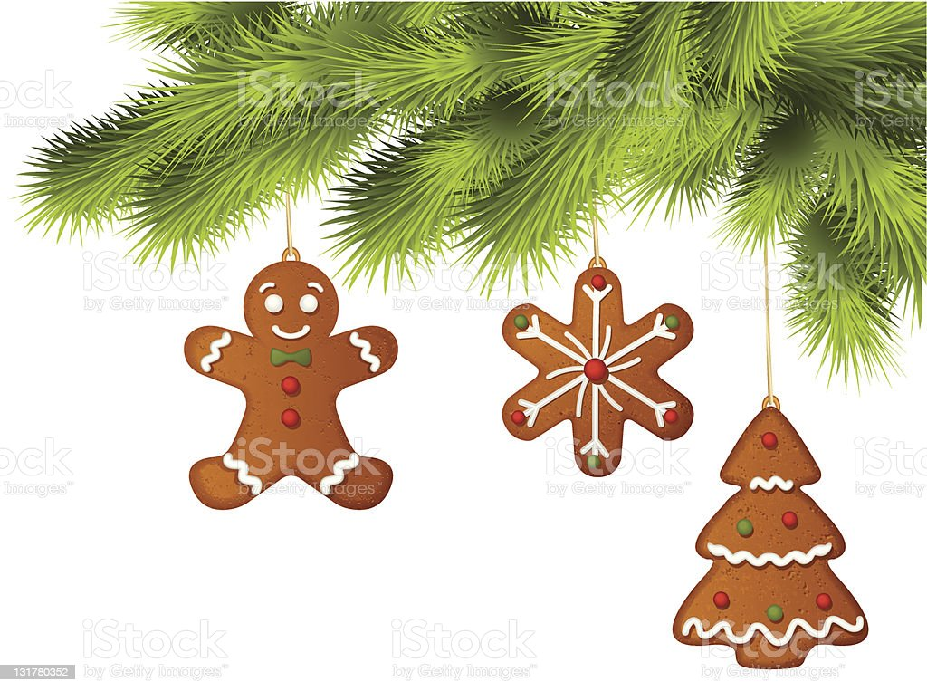 Christmas tree with gingerbread ornaments on branches vector art illustration