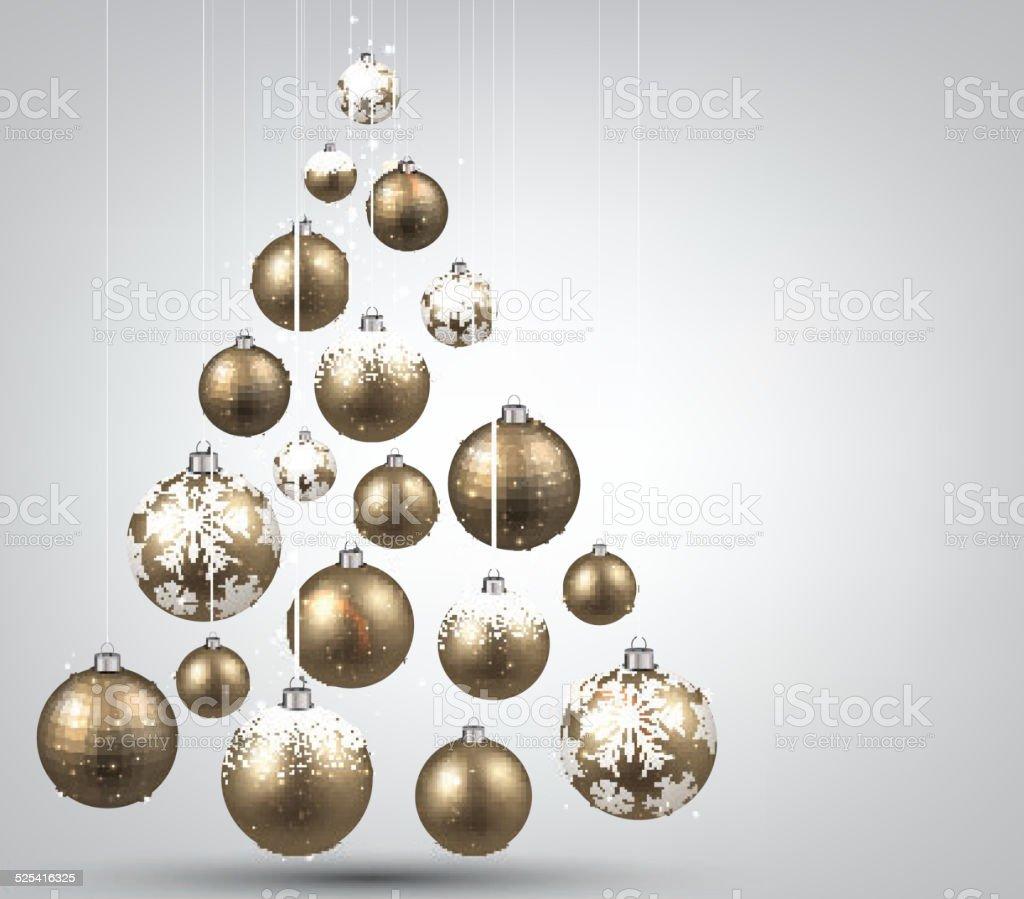 Sapin De Noël Avec Des Boules De Noël Doré Vecteurs Libres De