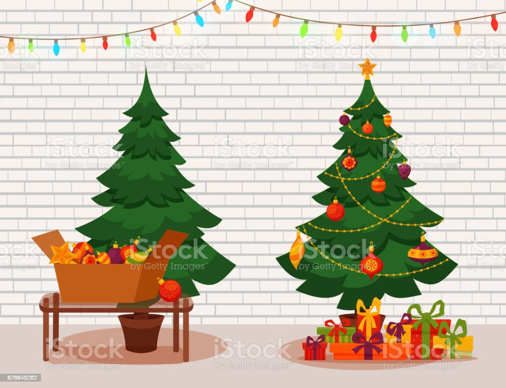 Christmas Tree With Lights And Presents Fir Tree Before And After ...