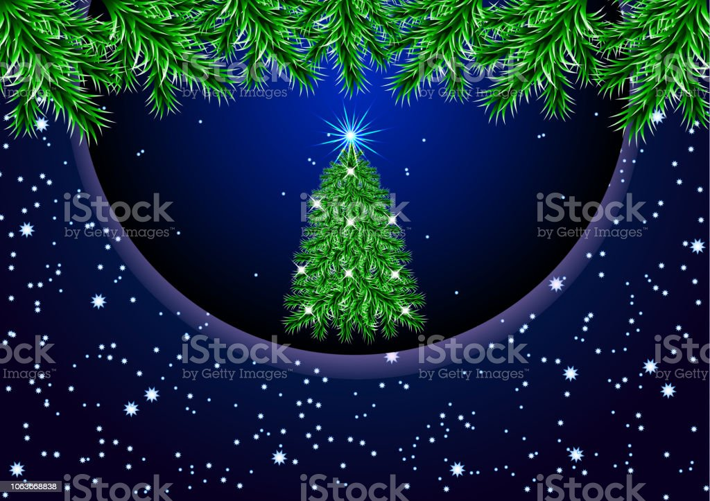 Christmas Tree With Lights On A Dark Background Brilliant Light