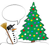 Christmas tree with many colorful christmas balls and a happy comic snowman with a blank bubble speech. Cartoon vector illustration on white background.