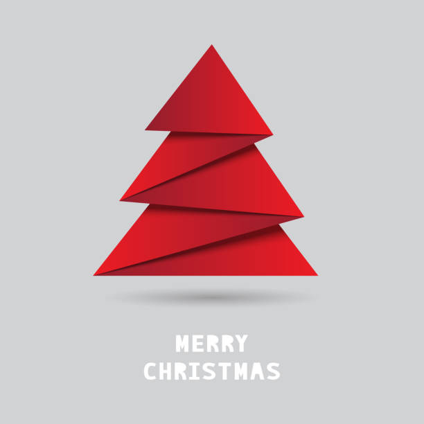 Christmas tree with origami style Christmas tree with origami style on gray background. christmas trees stock illustrations