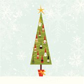 Сhristmas tree with ornament. Snowflake background. Editable image. Elements are grouped on different layers.