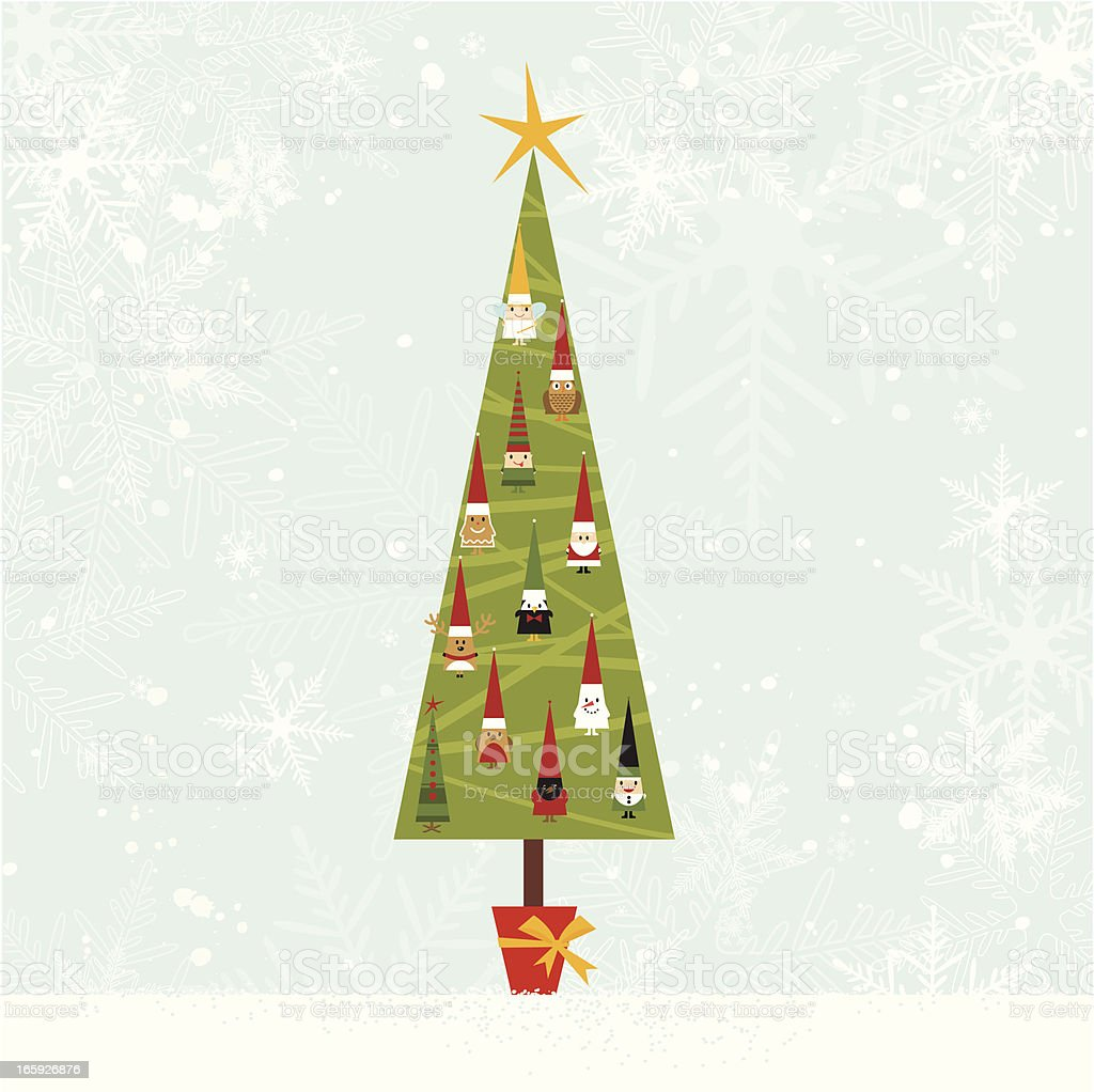 Christmas tree with ornament vector art illustration