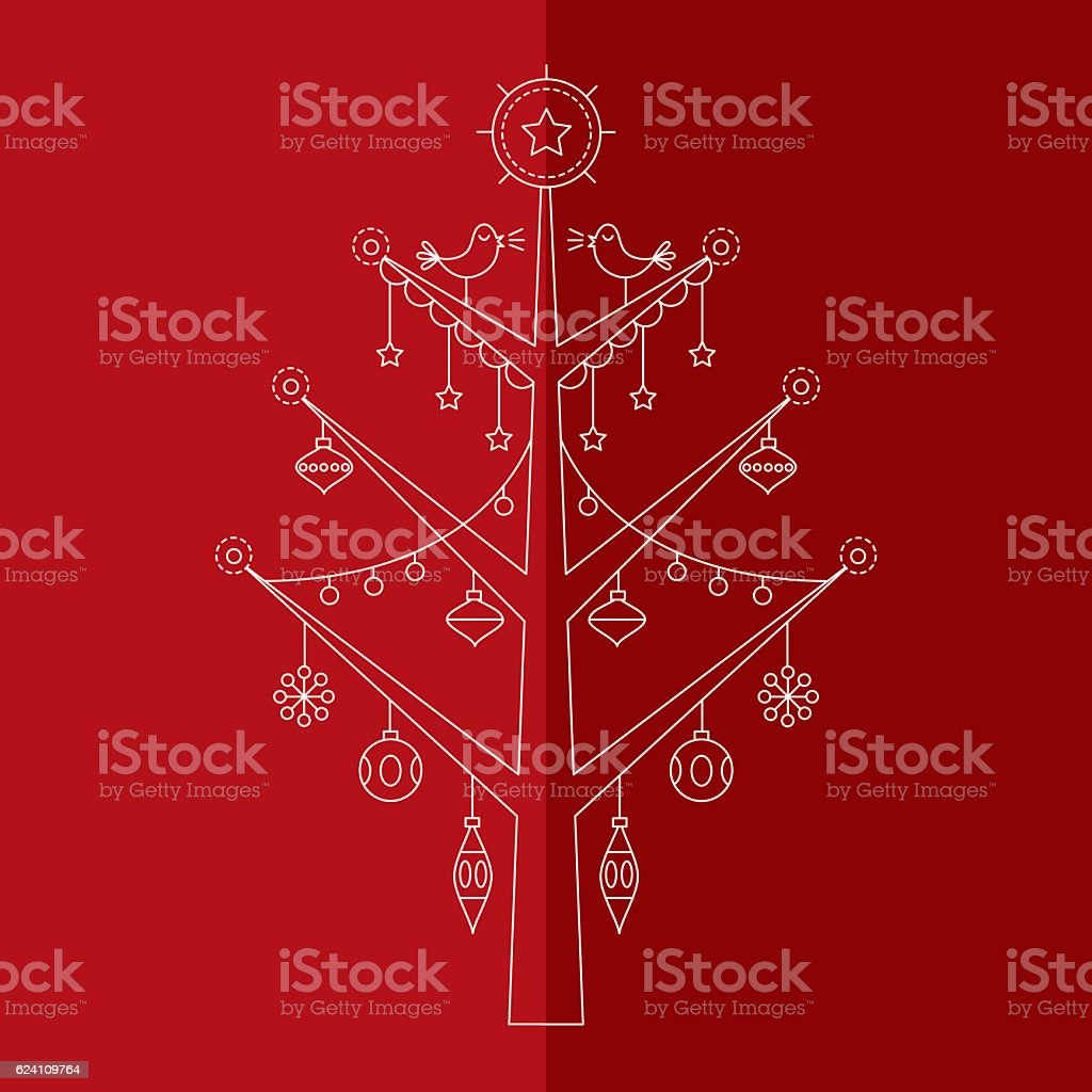 Christmas tree with ornaments 1 vector art illustration