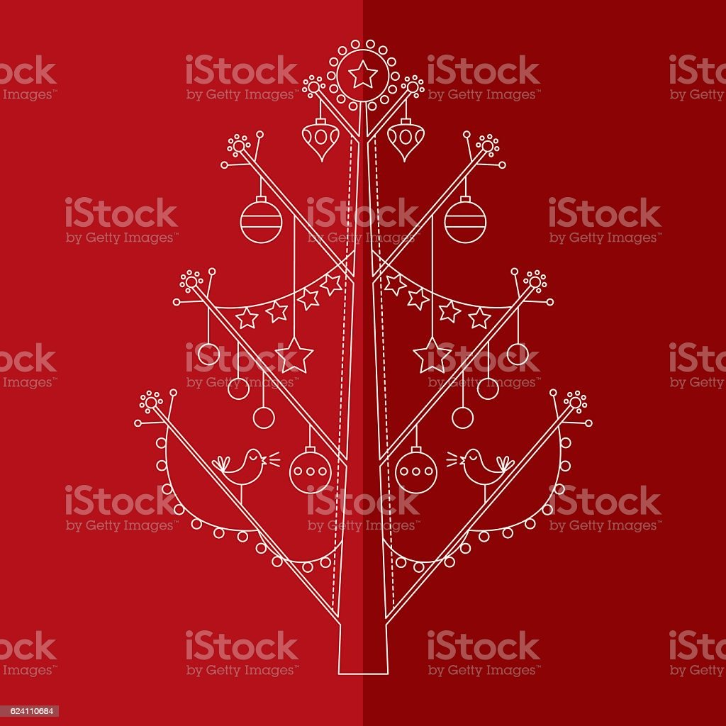Christmas tree with ornaments 2 vector art illustration