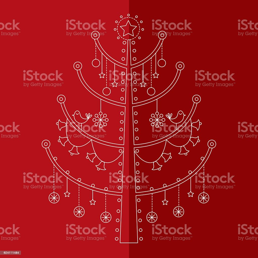 Christmas tree with ornaments 5 vector art illustration