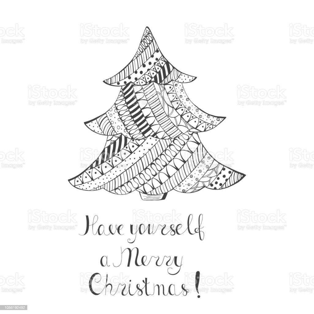 パターンと手書きの願いクリスマス ツリー いたずら書きの