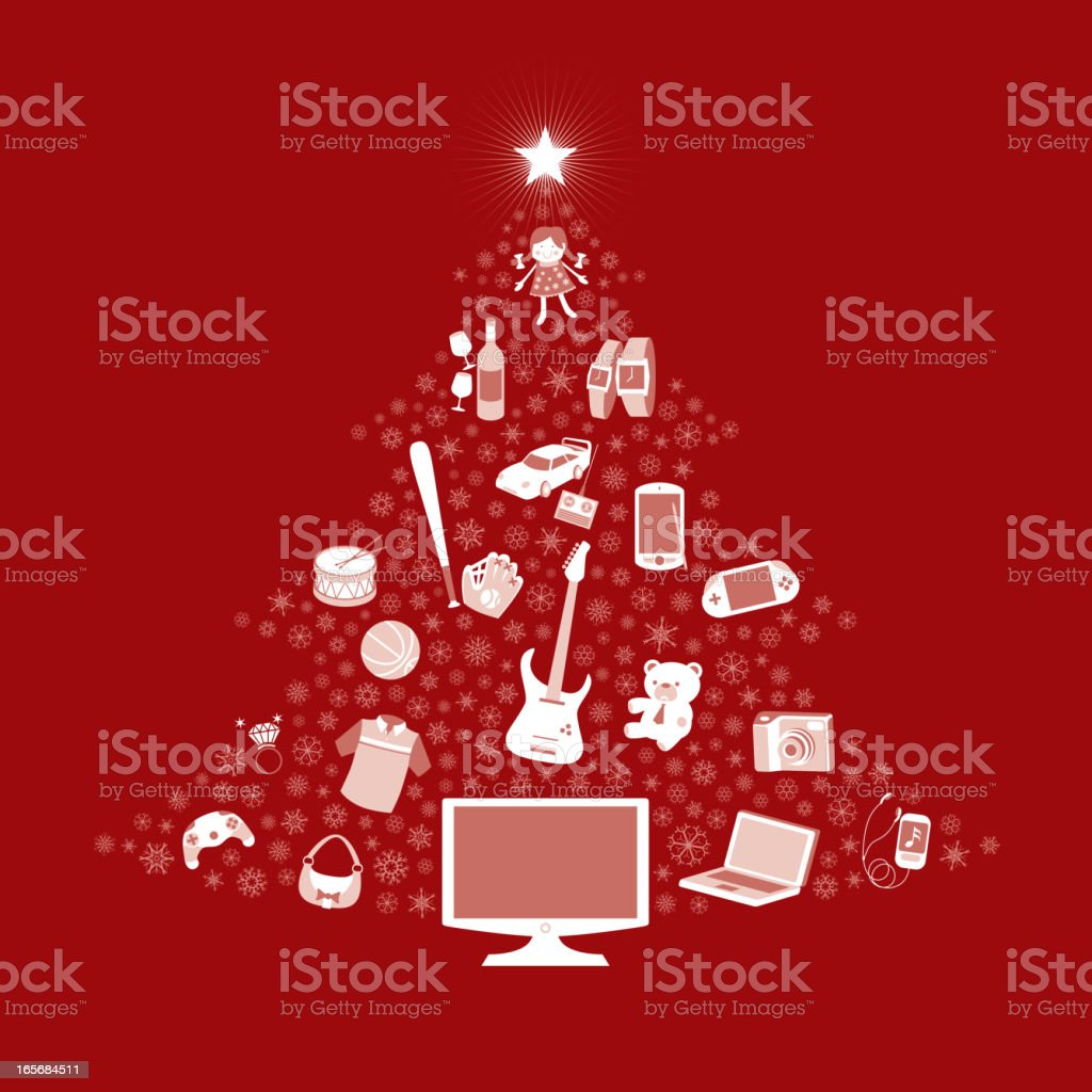 Christmas tree with present royalty-free stock vector art