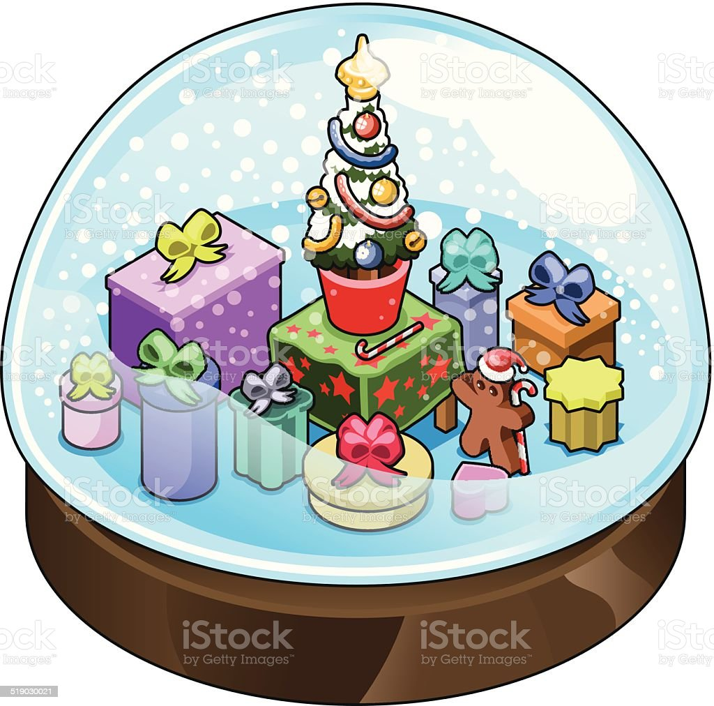 Christmas tree with presents and gingerbread man in snow globe vector art illustration