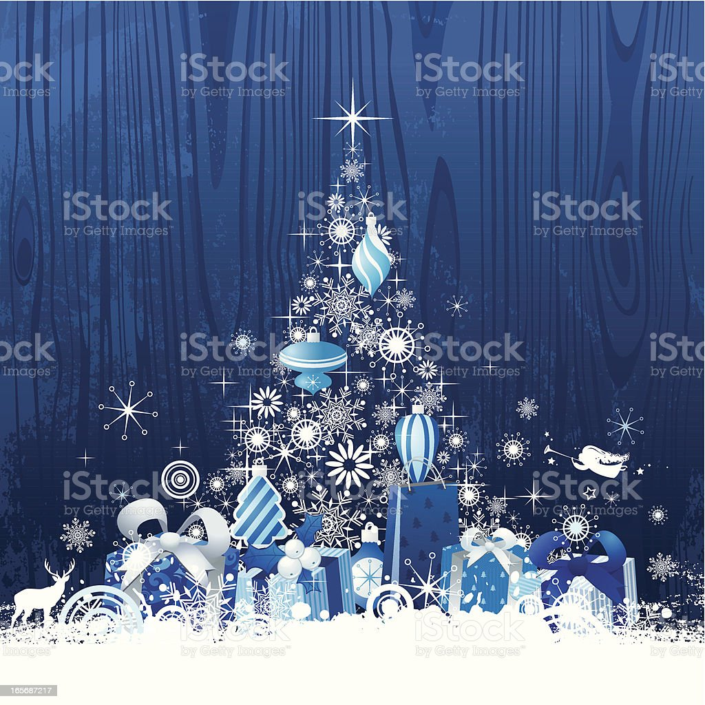 Christmas Tree with presents royalty-free stock vector art