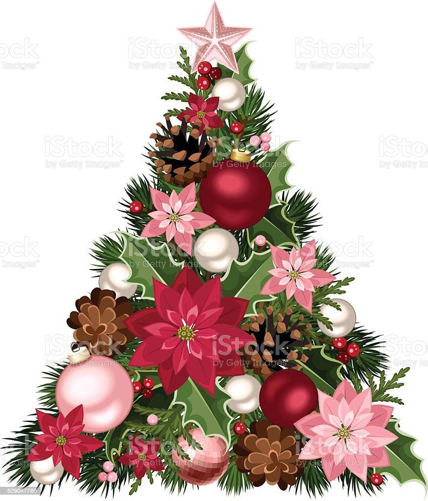 Albero Di Natale Rosa.Albero Di Natale Con Decorazioni Rosse E Rosa Illustrazione