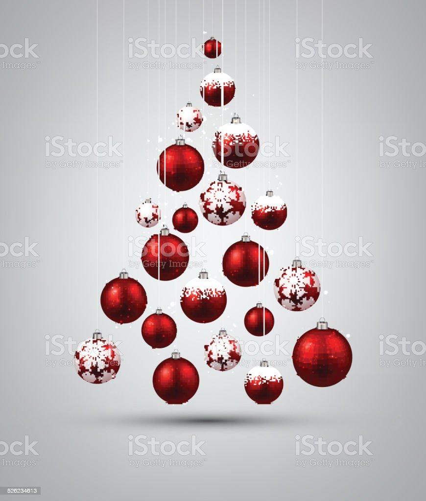 Christmas tree with red christmas balls. vector art illustration