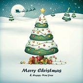 cartoon illustration of christmas tree with santa sleigh on snow field background